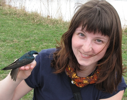 Lisa Kennedy with Tree Swallow, Ithaca, NY